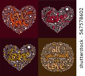 love postcard. lettering love.... | Shutterstock .eps vector #567578602