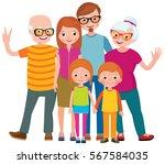 family portrait of three... | Shutterstock .eps vector #567584035
