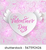 valentine card with paper heart ... | Shutterstock . vector #567592426