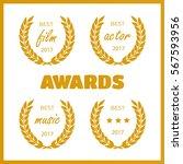 set of awards for best. film... | Shutterstock .eps vector #567593956