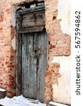 Old Withered Grunge Blue Door....