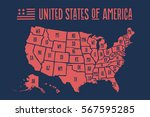 poster map of united states of... | Shutterstock . vector #567595285