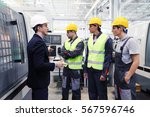 manager and workers at plant... | Shutterstock . vector #567596746