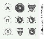 set of vintage karate or... | Shutterstock .eps vector #567620005