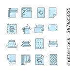 outline set of linen icons. bed ... | Shutterstock .eps vector #567635035