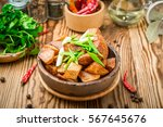 baked potatoes with rosemary... | Shutterstock . vector #567645676