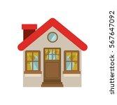 facade confortable house with... | Shutterstock .eps vector #567647092