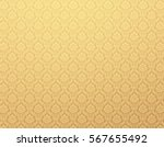 Gold Damask Wallpaper With...