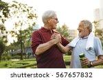 senior adult friendship... | Shutterstock . vector #567657832