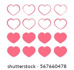 pink valentine hearts set.... | Shutterstock .eps vector #567660478