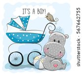 greeting card its a boy with... | Shutterstock .eps vector #567662755