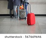 red baggage is standing in the... | Shutterstock . vector #567669646