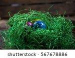 3 Easter Eggs On Easter Grass...