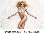 blonde woman like angel   Shutterstock . vector #567686836