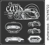 vintage cars set. retro cars... | Shutterstock .eps vector #567698722
