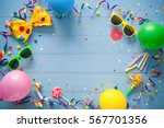 colorful birthday frame with... | Shutterstock . vector #567701356