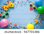 colorful frame with party items ... | Shutterstock . vector #567701386