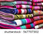 bright hand made peruvian... | Shutterstock . vector #567707302