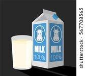 milk box and glass of milk... | Shutterstock .eps vector #567708565