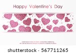 poster with hearts from pink... | Shutterstock .eps vector #567711265