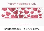 poster with hearts from red and ... | Shutterstock .eps vector #567711292
