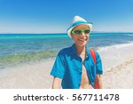 beautiful child with straw hat... | Shutterstock . vector #567711478