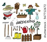 gardening equipment set. cute... | Shutterstock .eps vector #567712672