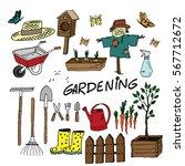 gardening equipment set. cute... | Shutterstock .eps vector #567712672