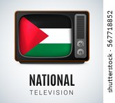 vintage tv and flag of... | Shutterstock .eps vector #567718852