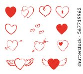 hand drawn heart with wings and ... | Shutterstock .eps vector #567719962