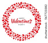 abstract red hearts circle... | Shutterstock .eps vector #567723382