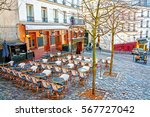 view of typical paris cafe in... | Shutterstock . vector #567727042
