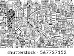 modern city illustration with a ... | Shutterstock .eps vector #567737152