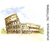 the colosseum  italy ... | Shutterstock . vector #567745846
