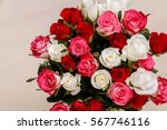 bouquet of roses background.... | Shutterstock . vector #567746116