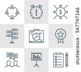 set of 9 project management... | Shutterstock . vector #567747166