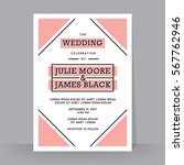 retro wedding invitation... | Shutterstock .eps vector #567762946