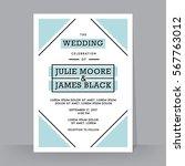 retro wedding invitation... | Shutterstock .eps vector #567763012