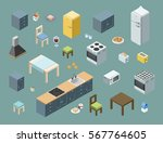 vector isometric set of kitchen ... | Shutterstock .eps vector #567764605