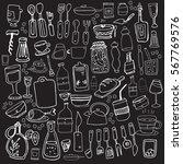 hand drawn food elements. set... | Shutterstock .eps vector #567769576