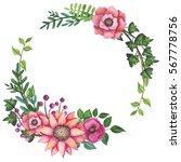 wreath with watercolor bright... | Shutterstock . vector #567778756