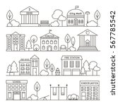 set of government buildings.... | Shutterstock .eps vector #567785542
