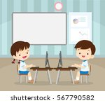 students learning with computer ... | Shutterstock .eps vector #567790582