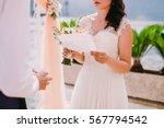 Bride Reading Wedding Vows....