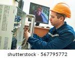 technician worker adjusting...   Shutterstock . vector #567795772