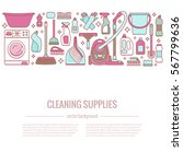 household cleaning supplies...   Shutterstock .eps vector #567799636