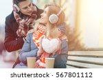 young beautiful couple having... | Shutterstock . vector #567801112