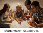 group of friends working on... | Shutterstock . vector #567801946