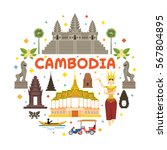 cambodia travel attraction... | Shutterstock .eps vector #567804895