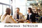 brainstorming at coffee break... | Shutterstock . vector #567812128